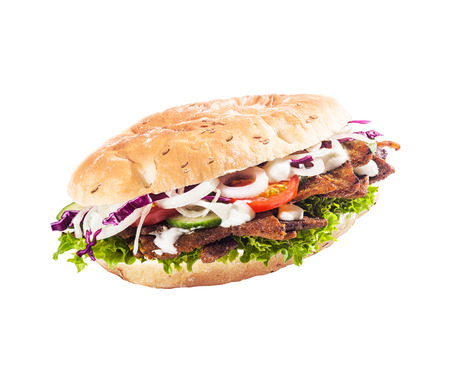 ner: Healthy salad roll, kebab or döner with fresh lettuce, tomato, onion and cucumber with cripsy cooked meat isolated on white Stock Photo