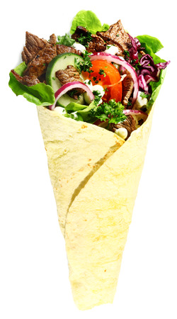 ner: Tortilla with a delicious grilled meat and fresh mixed leafy green salad filling isolated on white