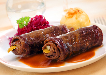 roulade: Two delicious roulades or beef olives made from thinly sliced rolled beef around a vegetable or pickle stuffing served in rich gravy Stock Photo
