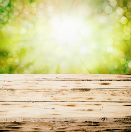 jungle green: Antiguo vac�o r�stico grunge madera mesa al aire libre en el campo contra un fondo borroso de follaje y cielo con copyspace Foto de archivo