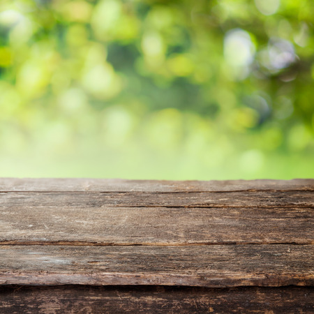 empty surface: Rustic weathered cracked wooden country fence plank or table top against a blurred background of greenery and foliage in summer sun Stock Photo