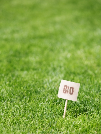 dof: Botanical background of fresh green grass with a Bio label in the bottom right corner and shallow dof with copyspace Stock Photo