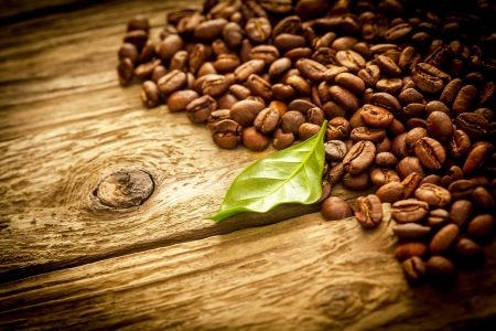 vignetting: Background of brown roasted coffee beans on old grungy rustic weathered driftwood planks with a fresh green leaf , copyspace and vignetting Stock Photo