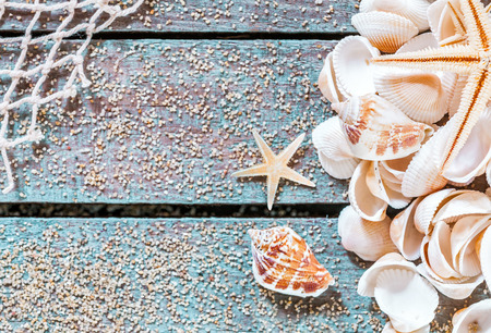 Pretty nautical card design with seashells and a starfish on blue painted boards covered with scattered golden sea sand and fishing net decorating one corner with central copyspace photo