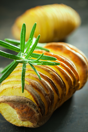 baked potatoes: Baked potato cooked in foil on a barbecue and sliced through served with a sprig of fresh rosemary, close up vertical view