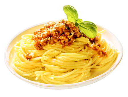 bolognaise: Plate of cooked spaghetti Bolognaise topped with parmesan cheese and fresh basil leaves over white with a clipping path Stock Photo