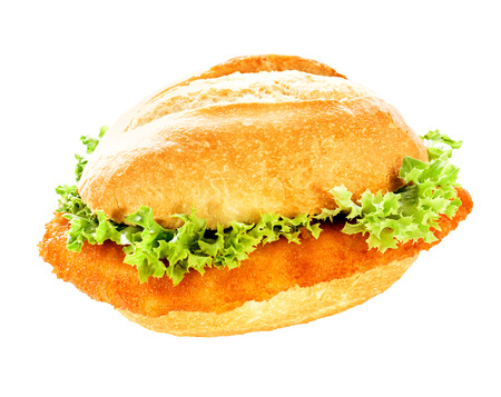 battered: Delicious fish burger with fresh frilly lettuce and a crumbed fish fillet on a crusty bun isolated on white