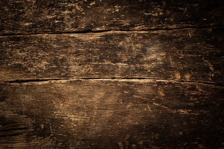 table top view: Background texture of old rustic weathered grunge cracked wood with a side vignette Stock Photo