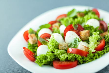 salad greens: Serving of fresh leafy green salad with mozzarella pearls, tomato and fried golden crunchy croutons, close up low angle view with shallow dof