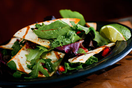accompaniment: Closeup Fresh Salad with Pomegranate, Grilled Tacos Lemon and Green Salad in Rustic Style