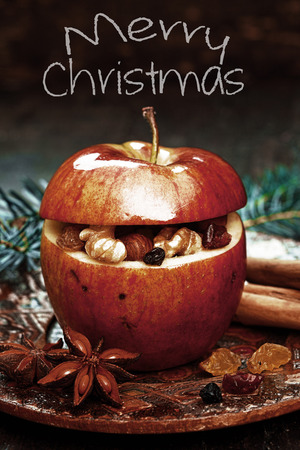 christamas: Macro Red Christmas Apple with Spices, Anise on Side.