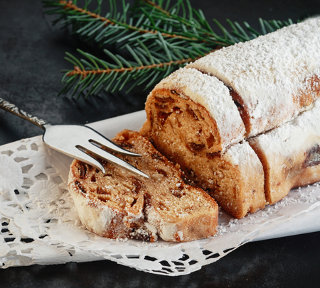 speciality: Loaf of sweet spicy Italian panettone bread, a speciality with raisins, candied fruit and spices served at Christmas
