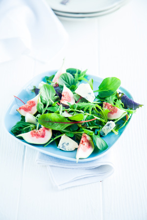 plated: Fresh Salad on Plate Isolated on White. Good for Vegetarians Stock Photo