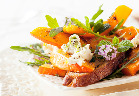 Appetizing Gourmet Hokkaido Rocket Salad Served on Table. Ready to Eat Delicious Food. photo