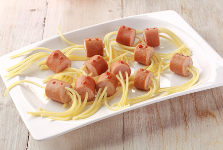 Hot Dog Wiener and Noodle Halloween Spider Snacks on White Plate photo