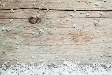 Rustic Wooden Background With Winter Snow On The Bottom Border And Plenty Of Copyspace For Your