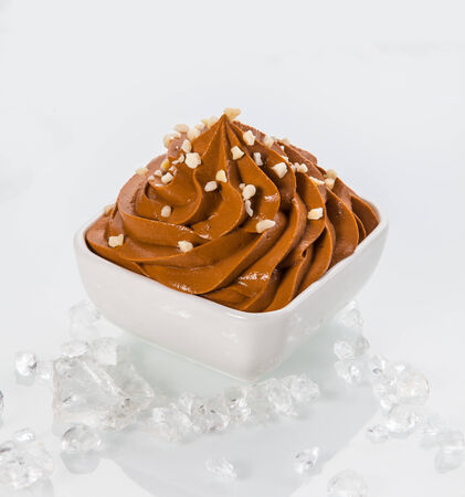frozen joghurt: Close up Brown Frozen Yogurt on White Bowl with Little Toppings. Surrounded by Ice Pieces. Isolated on White Background.