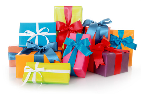 multiple family: Plenty Assorted Colored Presents for Birthdays or Christmas Isolated on White Background Stock Photo