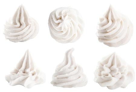 Set von sechs verschiedenen weißen dekorativen wirbelnde Toppings zum Dessert auf weißem Depicting Schlagsahne, Eis oder gefrorenen Joghurt