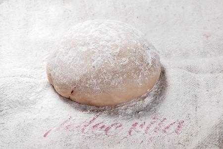Close up Homemade Italian Frisch Pasta Dough on Flour Formed in Oblong.