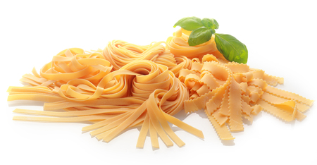 Close up Ordinary and Brass Wheel Cutting Fresh Fettuccine Pasta Isolated on White Background 版權商用圖片