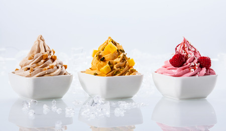 Assorted Flavor Delicious Frozen Yogurts on Small White Bowls Isolated on White Background Banco de Imagens