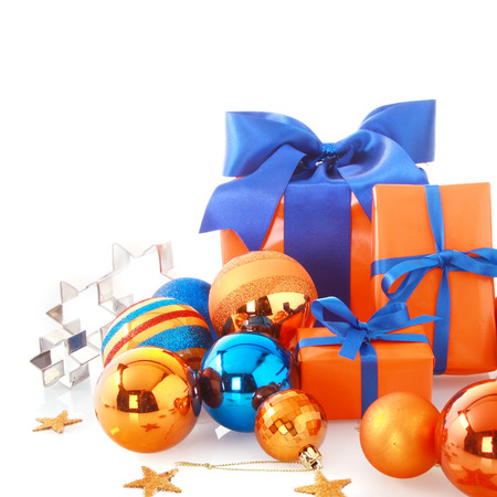 close up attractive blue and orange christmas ornaments with stock photo picture and royalty free image image 33635348