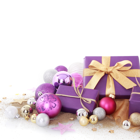 Close up Nice Purple Christmas Balls and Presents Decors with a Combination of Silver and Gold Ornaments, Isolated on White Background photo
