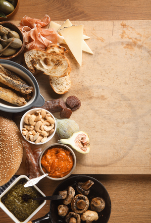 spanish tapas: Food Concept - Various Spanish Tapas on Wooden Table with Copy Space Stock Photo