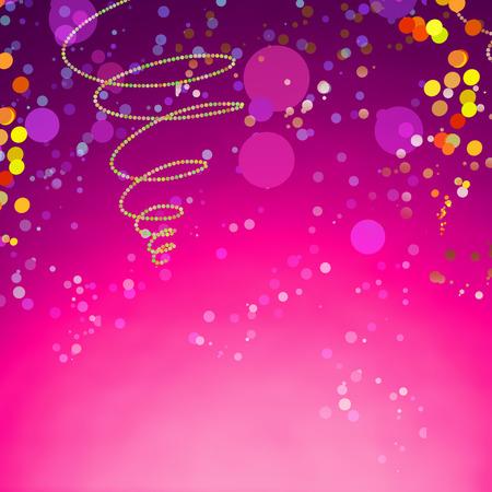emphasising: Estratto Carnevale progetto sfondo su Gradiente colore viola, sottolineando Colorful forme piccole rotonde.