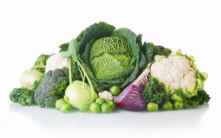 クローズ アップ新しく収穫健康野菜分離白背景に 写真素材