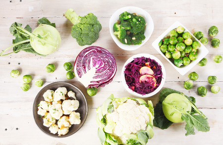 top down: Aerial Shot of Healthy Fresh Farm Ingredients on Top Wooden Table Stock Photo