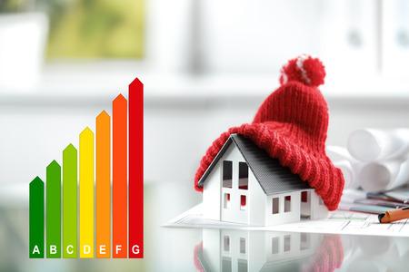 Concepto del rendimiento energético con la tabla de clasificación de la energía y una casa con bobble el sombrero rojo