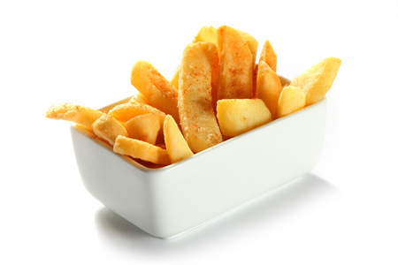 Close up Crispy Potato French Fries on White Bowl Isolated on White Background.