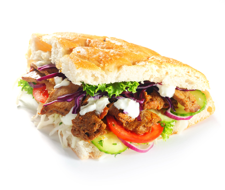 pita bread: Done up Gourmet Chicken Burger Slice with Veggies, Isolated on White Background.