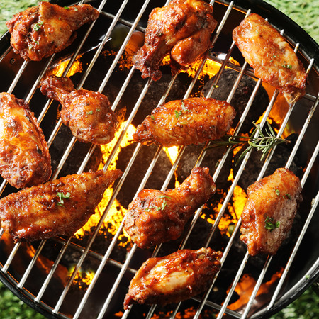 Crispy brown spicy marinated grilled chicken pieces on a BBQ cooking over the heat of the coals, overhead view on green grass photo