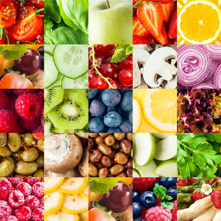 Colorful fruit and vegetable collage food background with assorted fall berries, basil, apple, orange, cucumber, mushroom, onion, olives, kiwifruit, banana, lettuce and parsley in square format photo