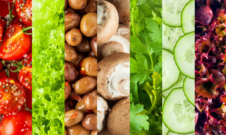 frilly: Collage of healthy fresh salad ingredients with rice red tomatoes, frilly green and purple lettuce, olives, mushrooms, cucumber and parsley displayed in vertical stripes Stock Photo
