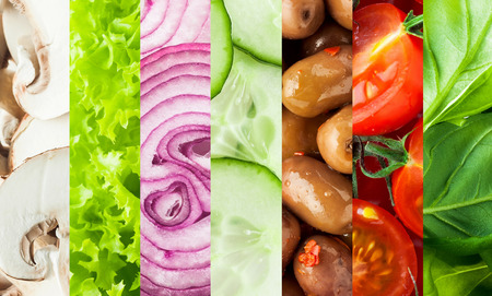 baby spinach: Fresh vegetables collage background with vertical bands containing sliced mushrooms, lettuce, onion, cucumber, olives, tomato and basil or baby spinach leaves for healthy vegetarian and vegan cuisine