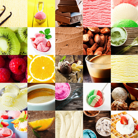 waffle: Italian ice cream dessert collage with a variety of different flavours with fresh tropical fruit, chocolate bonbons, cappuccino coffee, gelato, parfait, and waffle and cream for delicious summer treat Stock Photo