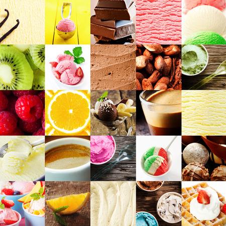 coppa di gelato: Italiano gelato dolce collage con una varietà di sapori diversi con frutta fresca tropicale, cioccolato bonbons, cappuccino, gelato, parfait, e cialda e crema per deliziosa sorpresa estate