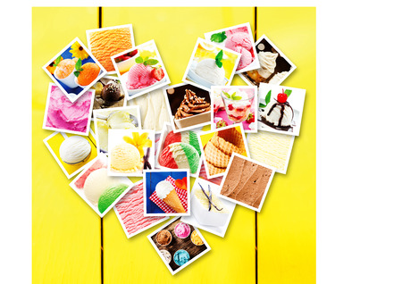 Photo collage made of square pictures of different types of delicious ice cream, displayed in heart shape on a yellow wooden wall