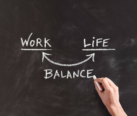 steady: Human Hand Writing Conceptual Diagram for Work and Life in Balance on Black Chalkboard Stock Photo