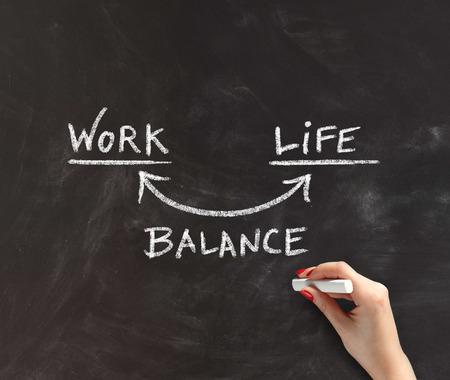 Mujer dibujo de la mano en la Junta Negro con tiza, concepto imagen que ilustra equilibrio entre trabajo y vida Foto de archivo