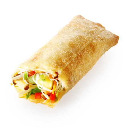 Isolated tasty Chinese spring roll appetizer filled with fresh vegetables and sprouts in a crispy golden pastry wrap, on white