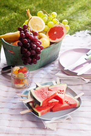 pic nic: Healthy fresh fruit dessert at a picnic with a bowl of grapes, apple, banana, grapefruit, and lemon, fruit salad and watermelon slices served on a blanket on the lawn on a summer day