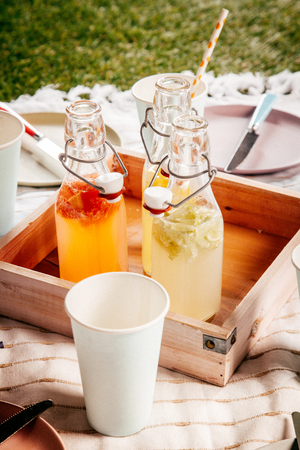 pic nic: Homemade fresh fruit juice for a summer picnic served in a wooden tray on a blanket on the grass with a disposable paper cup for refreshing drinks