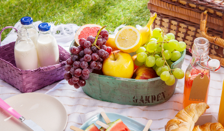 pic nic: Bottles of fresh milk, juice and fruit at a picnic laid out ready on a cloth on the grass alongside a hamper on a sunny summer day Stock Photo