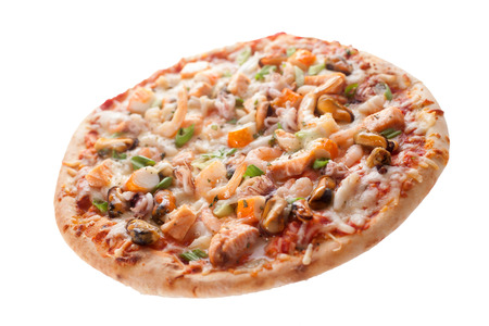 Close Up of Cheesy Fresh Baked Seafood Pizza Topped with Fresh Ingredients Isolated on White Background Stock Photo