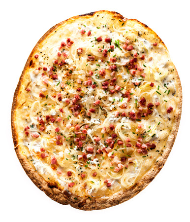 toppings: High Angle View of Rustic Thin Crust Pizza Topped with Fresh Toppings Isolated on White Background